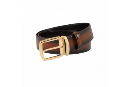 Dupont Belts smooth brown leather with shades 35mm