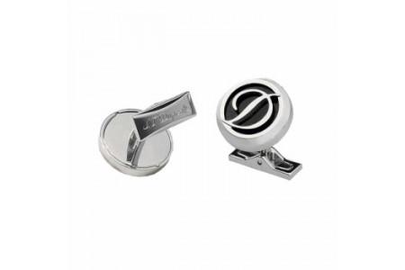 Dupont Cufflinks round logo black steel