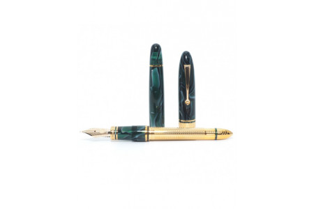 Armando Simoni Club Ogiva Medio green lagoon gold trim fountain pen