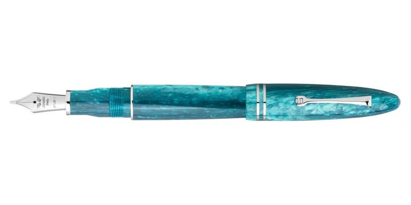 Leonardo Officina Italiana Furore grande verde smeraldo rhodium trim steel nib fountain pen